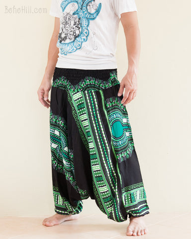 African Dashiki Harem Pants Unisex Low Crotch Yoga Trousers Green side