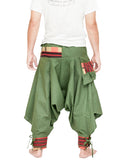 green ninja trousers tribal warrior low crotch harem pants plain tropical jungle mountain embroidery trim back