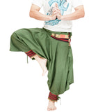 green ninja trousers tribal warrior low crotch harem pants plain tropical jungle mountain embroidery trim dance
