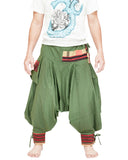 green ninja trousers tribal warrior low crotch harem pants plain tropical jungle mountain embroidery trim front