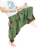 green ninja trousers tribal warrior low crotch harem pants plain tropical jungle mountain embroidery trim kick