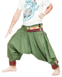green ninja trousers tribal warrior low crotch harem pants plain tropical jungle mountain embroidery trim side