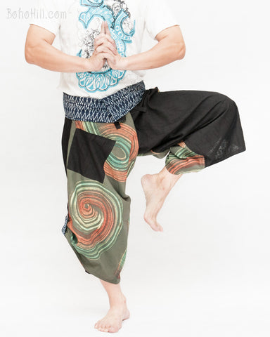 green samurai harem pants unique wrap around aizome indigo dye waist circle rainbow brush hakama trousers size m dance