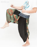 green samurai harem pants unique wrap around aizome indigo dye waist circle rainbow brush hakama trousers size m kick