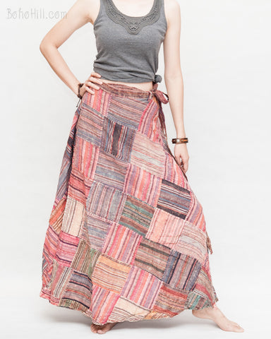 gypsy unique patchwork long skirt wrap around bohemian hippie style stonewashed rustic nepali cotton handmade one of a kind ps 6 wide