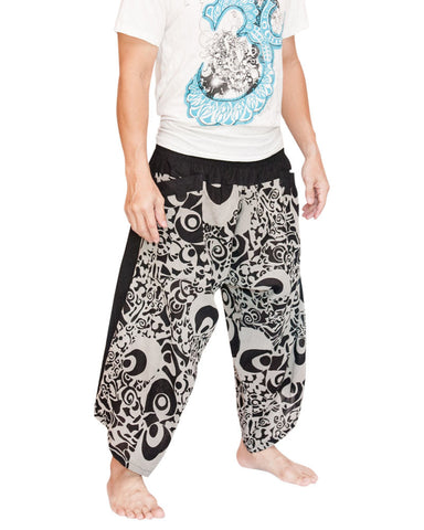Haka Tribal Design Ninja Style Samurai Active Harem Pants Parkour Flow Cropped Trousers (Black White) side