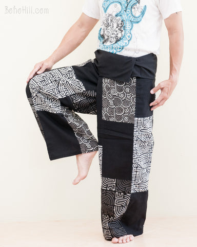 handmade patchwork thai fisherman pants wrap around fold over waist casual airy relaxed loose fit yoga trousers mountain tribal design black sol 1 tree