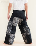 Handmade Thai Fisherman Pants Patchwork Wrap Around Trousers Black SOL11 back