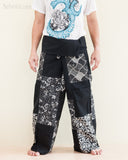 Handmade Thai Fisherman Pants Patchwork Wrap Around Trousers Black SOL11 front