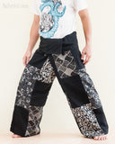 Handmade Thai Fisherman Pants Patchwork Wrap Around Trousers Black SOL11 left