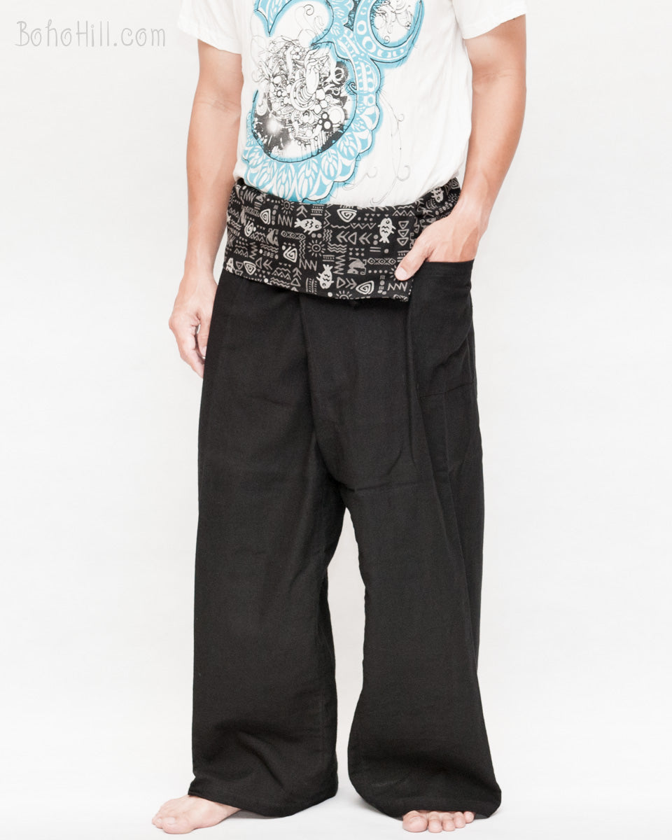 d13ce2e05b954 high-quality-handmade-thai-fisherman-pants -solid-black-tribal-fish-bone-pattern-fold-over-waist-loose-fit -flexible-low-crotch-yoga-trousers-pocket.jpg?v= ...