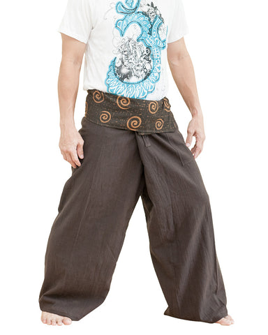 high quality thai fisherman pants dark brown tribal spiral swirl wrap around fold over waist pants full length loose fit low crotch yoga trousers side