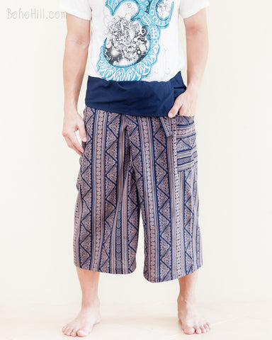 high quality thai fisherman pants shin length shorts wrap around fold over waist loose fit yoga capri trousers inca triangle tribal stripe blue front