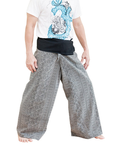 high quality thai fisherman pants wrap around fold over waist pants full length loose fit low crotch yoga trousers black sayagata mountain tribal side
