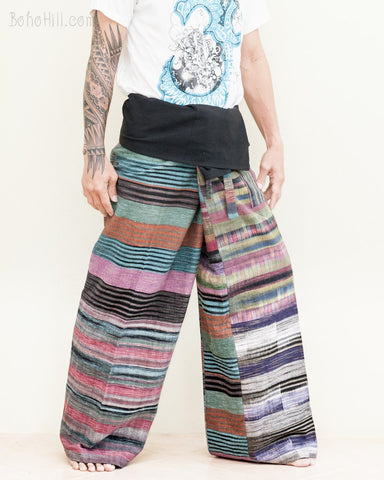himalaya colorful pink rainbow striped extra long thai fisherman pants wrap around fold over waist low crotch trousers for tall people handwoven cotton jmx33 right