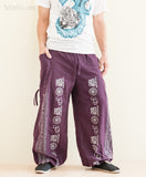 Hindu Om Script Aladdin Bloomers Convertible to Capri Pants Purple long