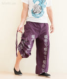 Hindu Om Script Aladdin Bloomers Convertible to Capri Pants Purple pull