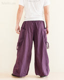 Hindu Om Script Aladdin Bloomers Convertible to Capri Pants Purple rear