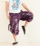 Hindu Om Script Aladdin Bloomers Convertible to Capri Pants Purple shorts