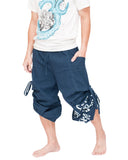 Hip Hop Pants Parkour Flow Aladdin Bloomers Etre Fort Pour Etre Utile Convertible (Blue) capri