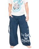 Hip Hop Pants Parkour Flow Aladdin Bloomers Etre Fort Pour Etre Utile Convertible (Blue) front