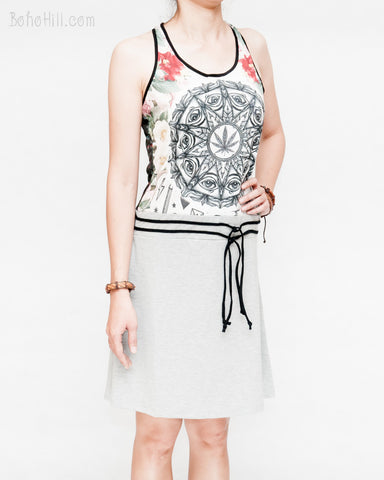 hippie healing cannabis leaf wisdom eyes mandala design summer dress sexy sporty racer back soft stretchy polyester viscose spandex blend heather gray right