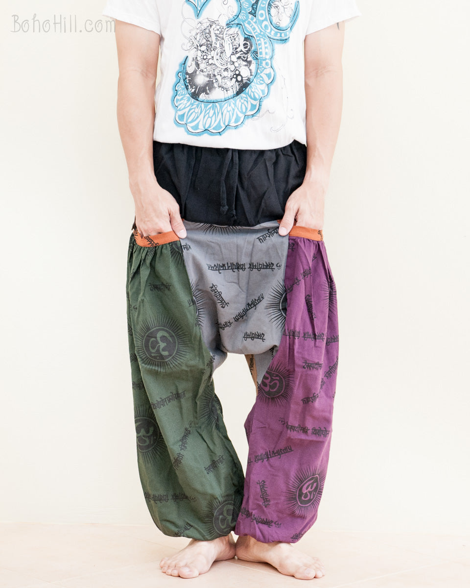 2363331f7a5b9 hippie-hobo-patchwork-baggy-aladdin-bloomers-low-crotch-harem-pants -om-sanskrit-pattern-relaxed-loose-fit-pull-on-big-pockets-green-gray-purple-no21-pocket.  ...