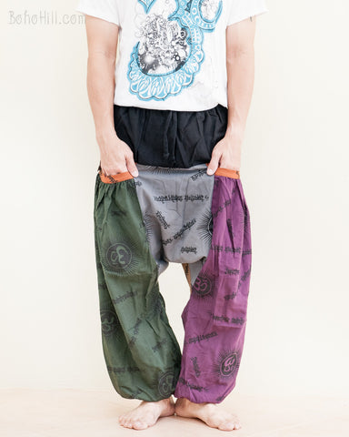 hippie hobo patchwork baggy aladdin bloomers low crotch harem pants om sanskrit pattern relaxed loose fit pull on big pockets green gray purple no21 pocket