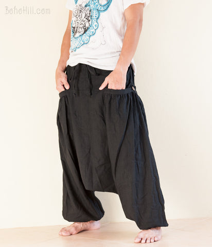 Hippie Pants - Aladdin Baggy Harem Pants Unisex Textured Cotton Big Pockets (Plain Black)