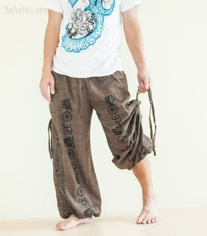 Hippie Pants - Ancient Indian Pattern Convertible Textured Cotton Aladdin Unisex Pants (Brown)