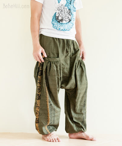 Hippie Pants - Baggy Aladdin Harem Pants Hindu Om Textured Cotton Big Pockets (Green)
