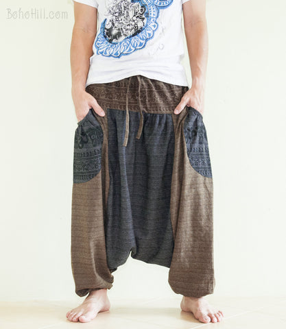 Hippie Pants - Baggy Harem Hindu Om Pattern Textured Cotton Aladdin Unisex Pants Hobo Style (2 Colors)