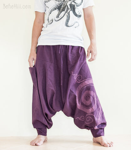 Hippie Pants - Baggy Harem Low Crotch Unisex Pants Kanok Pattern Hippie Hobo Style (3 Colors)
