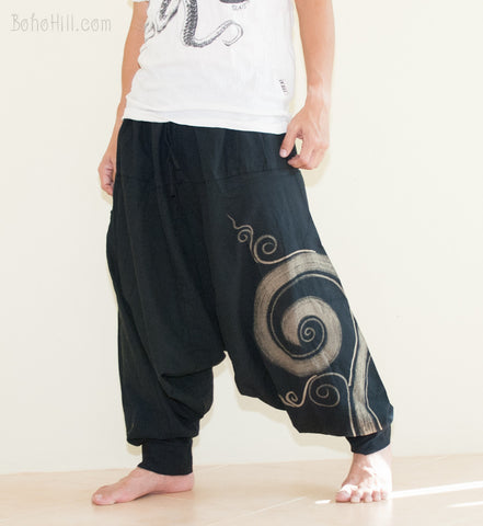 Hippie Pants - Baggy Harem Low Crotch Unisex Pants Kanok Pattern Hippie Hobo Style (Black)