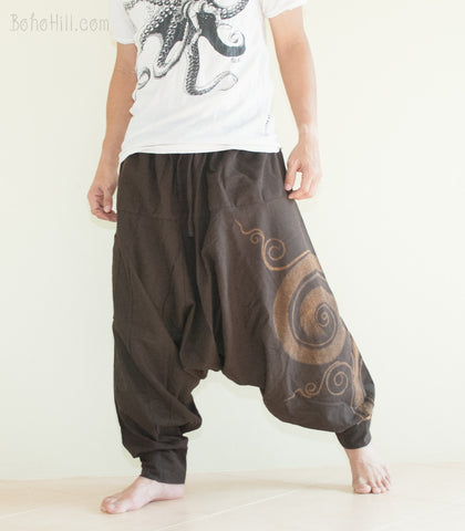 Hippie Pants - Baggy Harem Low Crotch Unisex Pants Kanok Pattern Hippie Hobo Style (Brown)