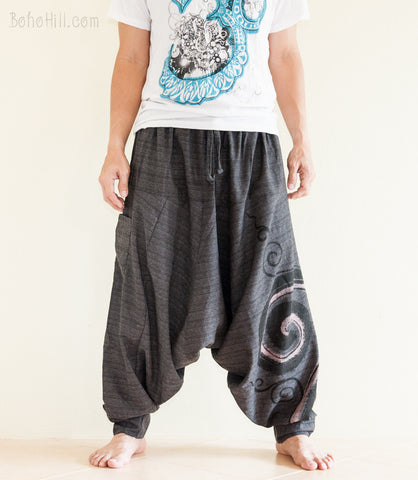 Hippie Pants - Baggy Harem Pants Textured Cotton Swirl Paint Unisex Aladdin Pants (Black)