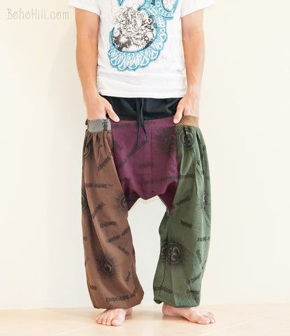 Hippie Pants - Baggy Hindu Om Pattern Patchwork Harem Aladdin Unisex Pants Big Pockets (BG-OM13)