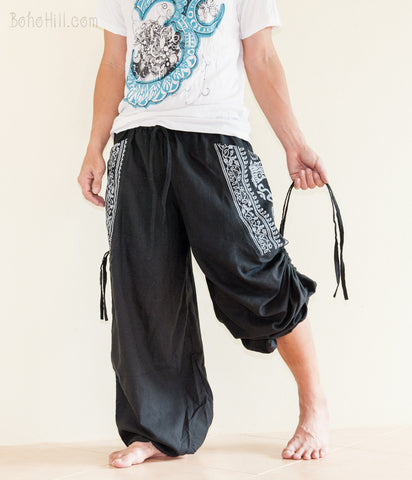 Hippie Pants - Convertible Aladdin Pants Heavy Cotton Hindu Om Script On Pockets (Black)
