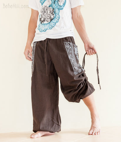 Hippie Pants - Convertible Aladdin Pants Heavy Cotton Hindu Om Script On Pockets (Brown)