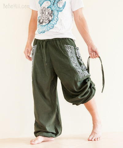 Hippie Pants - Convertible Aladdin Pants Heavy Cotton Hindu Om Script On Pockets (Green)