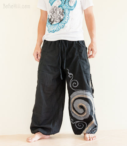 Hippie Pants - Convertible Aladdin Pants Heavy Cotton Mythical Kanok Swirl Paint (Black)