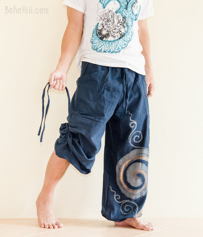 Hippie Pants - Convertible Aladdin Pants Heavy Cotton Mythical Kanok Swirl Paint (Blue)