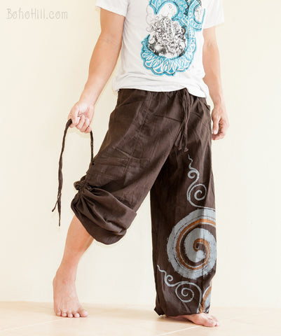 Hippie Pants - Convertible Aladdin Pants Heavy Cotton Mythical Kanok Swirl Paint (Brown)