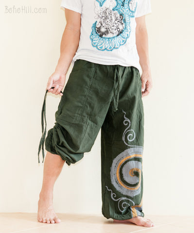 Hippie Pants - Convertible Aladdin Pants Heavy Cotton Mythical Kanok Swirl Paint (Green)