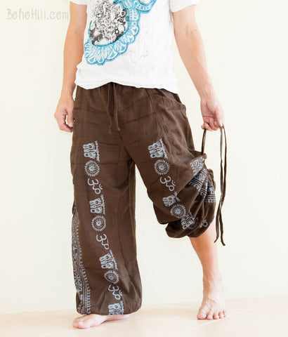 Hippie Pants - Convertible Aladdin Unisex Pants Hindu Om Script Airy Piña Pineapple Fiber Fabric (Brown)