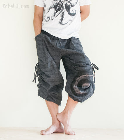 Hippie Pants - Convertible Textured Cotton Aladdin Unisex Pants Swirl Pattern (Black)