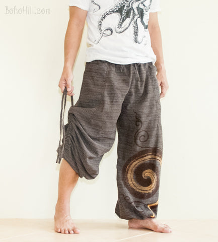 Hippie Pants - Convertible Textured Cotton Aladdin Unisex Pants Swirl Pattern (Brown)