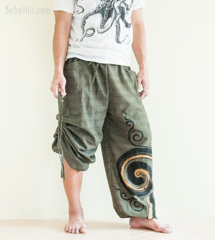 Hippie Pants - Convertible Textured Cotton Aladdin Unisex Pants Swirl Pattern (Green)