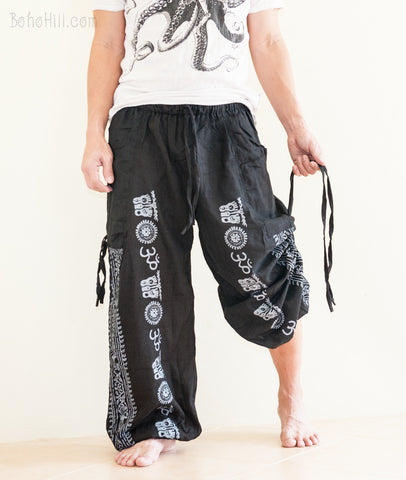 Hippie Pants - Cozy Heavy Cotton Convertible Aladdin Unisex Pants To Capri Hindu Om Script Pattern (Black)