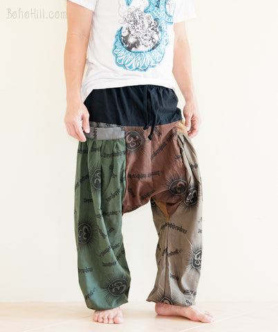 Hippie Pants - Fun Color Patchwork Low Crotch Baggy Harem Pants Unisex Hindu Om Design (BG-OM12)